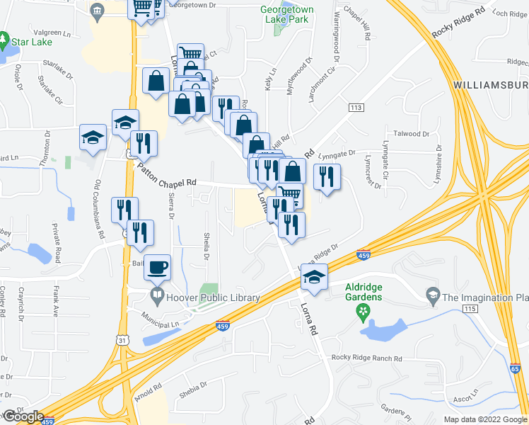 map of restaurants, bars, coffee shops, grocery stores, and more near 3345-3383 Lorna Rd in Hoover