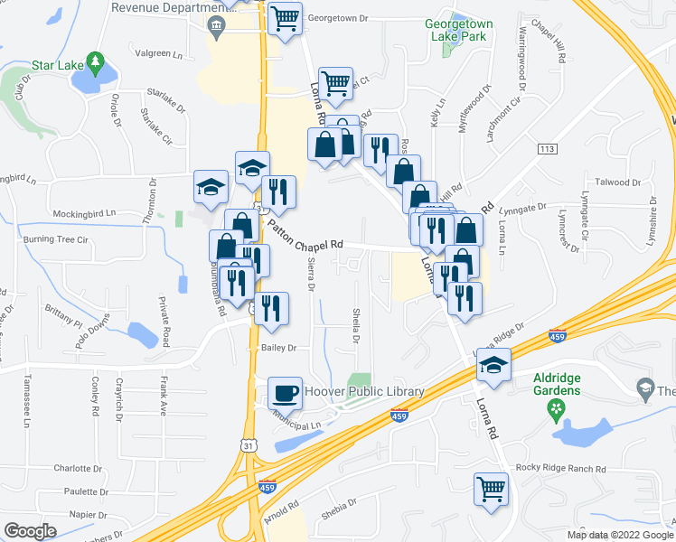 map of restaurants, bars, coffee shops, grocery stores, and more near 3424 Sheila Drive in Birmingham
