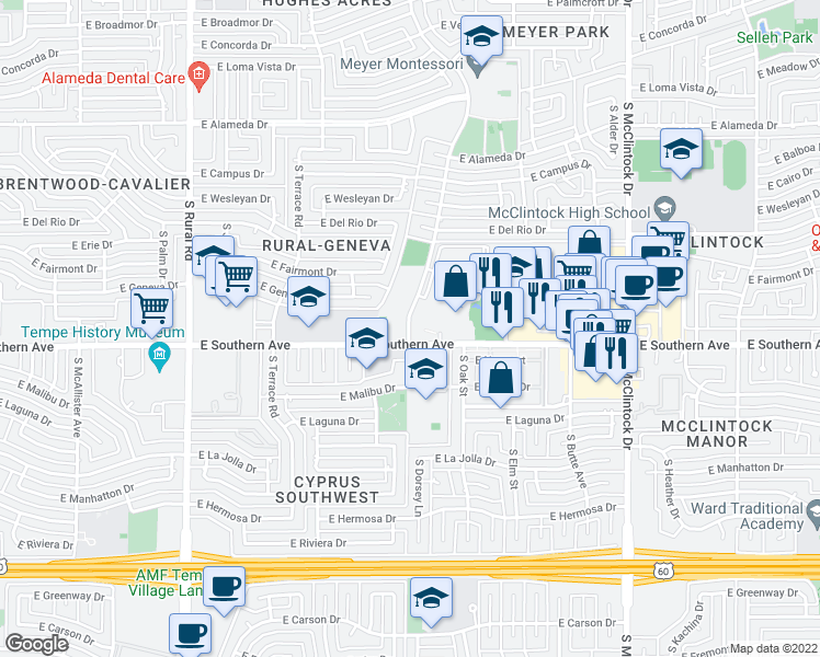 map of restaurants, bars, coffee shops, grocery stores, and more near 1260 E Southern Ave in Tempe