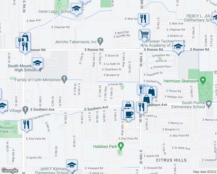 map of restaurants, bars, coffee shops, grocery stores, and more near 1409 East Wayland Drive in Phoenix