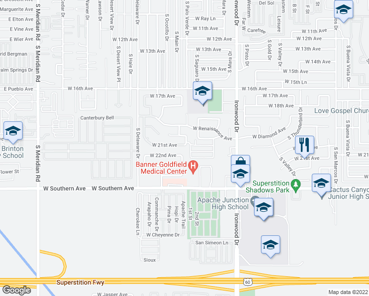map of restaurants, bars, coffee shops, grocery stores, and more near 2074 W 22nd Ave in Apache Junction