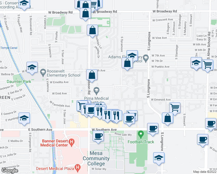 map of restaurants, bars, coffee shops, grocery stores, and more near W Dobson Village 2 in Mesa