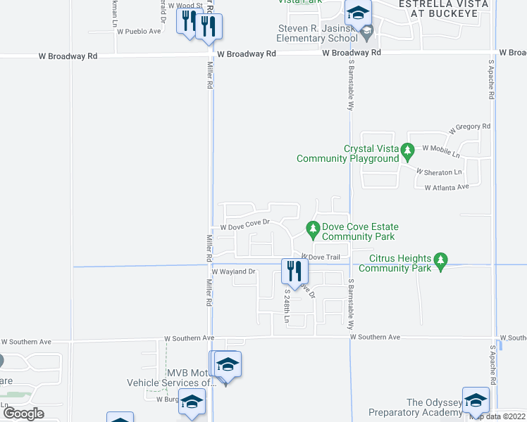 map of restaurants, bars, coffee shops, grocery stores, and more near 24942 W Dove Mesa Dr in Buckeye
