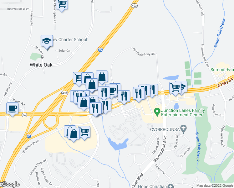 map of restaurants, bars, coffee shops, grocery stores, and more near Hampton Way in Newnan