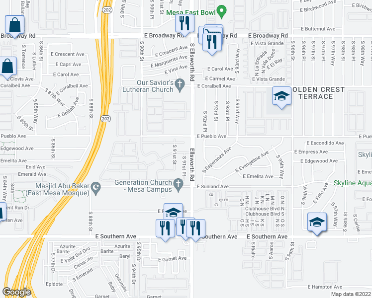 map of restaurants, bars, coffee shops, grocery stores, and more near 9126 East Chambers Street in Mesa