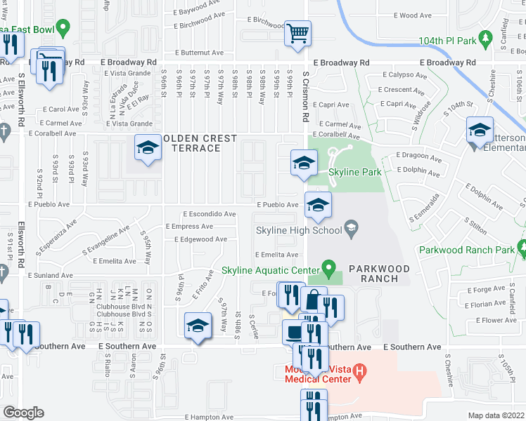 map of restaurants, bars, coffee shops, grocery stores, and more near 9901-9999 East Pueblo Avenue in Mesa