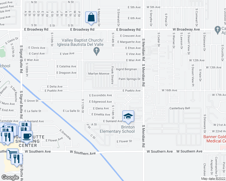 map of restaurants, bars, coffee shops, grocery stores, and more near South 114th Street in Mesa