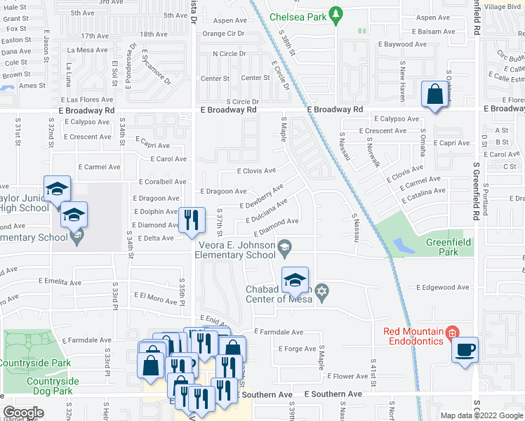 map of restaurants, bars, coffee shops, grocery stores, and more near 3781-3799 East Dewberry Avenue in Mesa