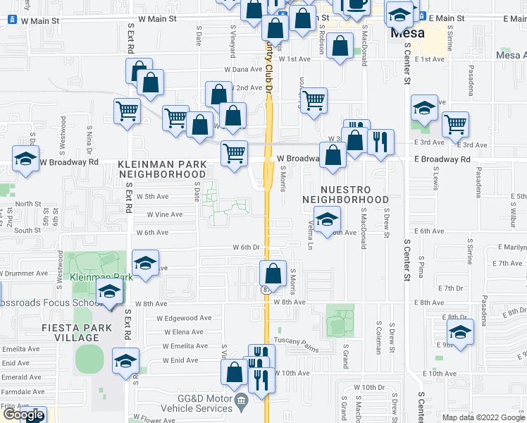 map of restaurants, bars, coffee shops, grocery stores, and more near None in Mesa