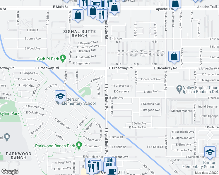 map of restaurants, bars, coffee shops, grocery stores, and more near 520 South Hassett in Mesa
