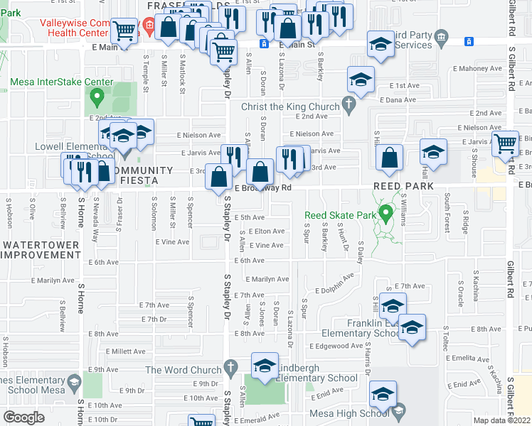 map of restaurants, bars, coffee shops, grocery stores, and more near 1324 East 5th Avenue in Mesa