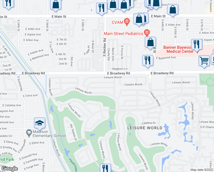 map of restaurants, bars, coffee shops, grocery stores, and more near 1922 Leisure World in Mesa