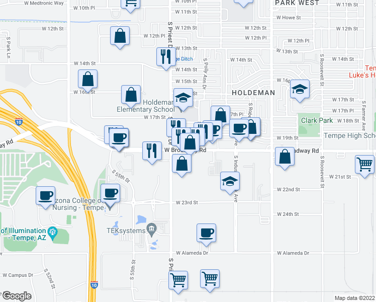 map of restaurants, bars, coffee shops, grocery stores, and more near 1344 West Broadway Road in Tempe