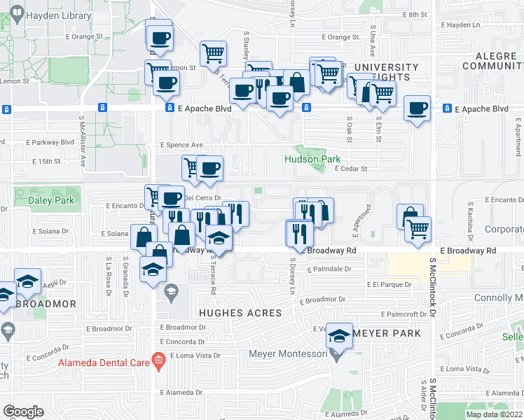 map of restaurants, bars, coffee shops, grocery stores, and more near 1193-1293 E Vista Del Cerro Dr in Tempe