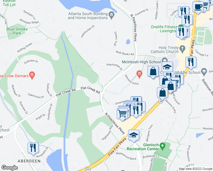 map of restaurants, bars, coffee shops, grocery stores, and more near 314 N Peachtree Pkwy in Peachtree City