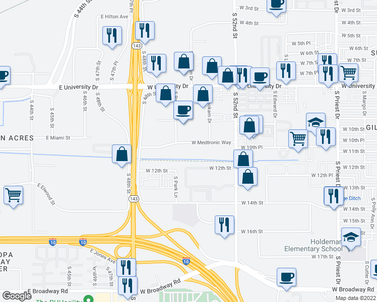 map of restaurants, bars, coffee shops, grocery stores, and more near W Medtronic Way in Tempe