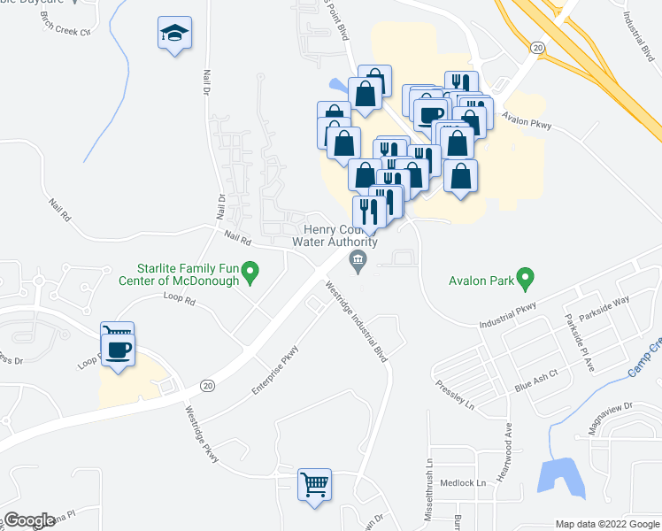map of restaurants, bars, coffee shops, grocery stores, and more near 1690 McDonough Hampton Rd in McDonough