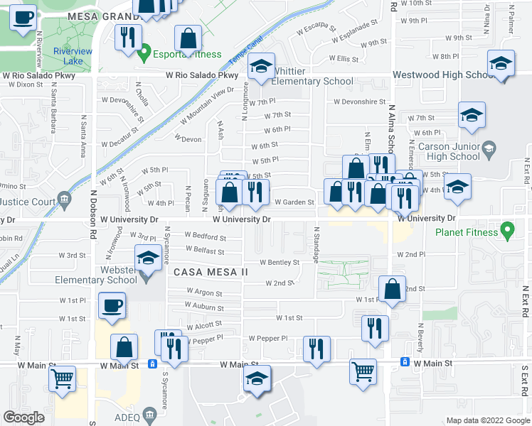 map of restaurants, bars, coffee shops, grocery stores, and more near 1528 W 4th Pl in Mesa