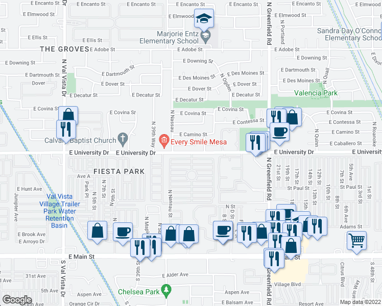 map of restaurants, bars, coffee shops, grocery stores, and more near 405 North Norwalk in Mesa