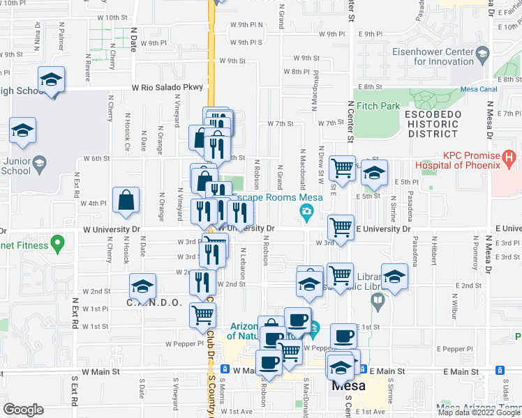 map of restaurants, bars, coffee shops, grocery stores, and more near 421 N Robson in Mesa