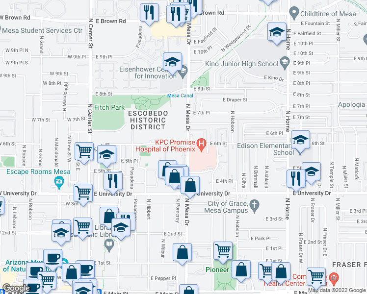 map of restaurants, bars, coffee shops, grocery stores, and more near 358-398 E 6th St in Mesa