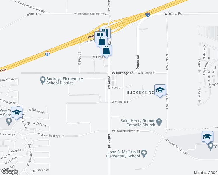 map of restaurants, bars, coffee shops, grocery stores, and more near S Miller Rd & Hess Ln in Buckeye