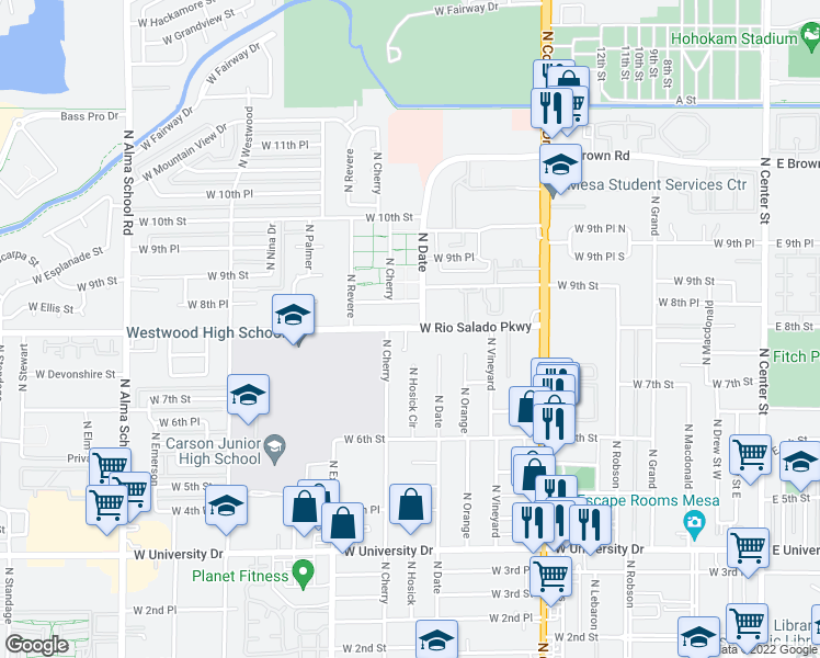map of restaurants, bars, coffee shops, grocery stores, and more near 740 North Date Street in Mesa