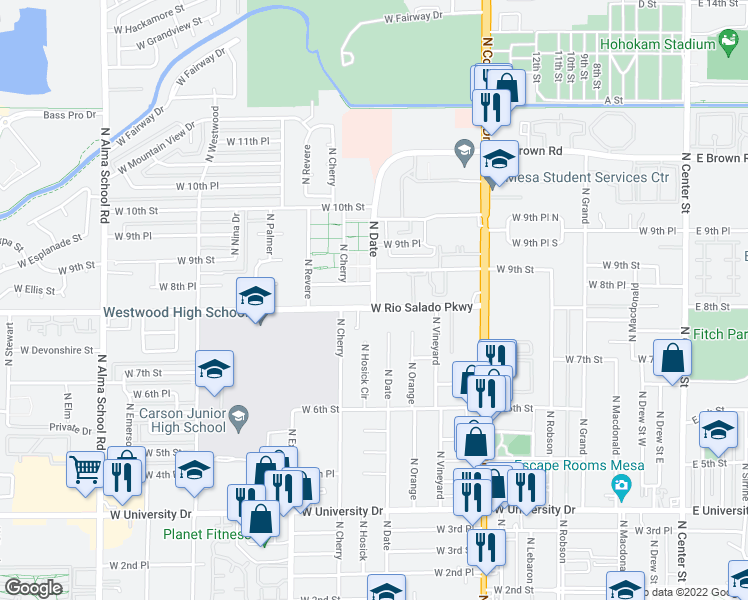 map of restaurants, bars, coffee shops, grocery stores, and more near 835 North Date Street in Mesa