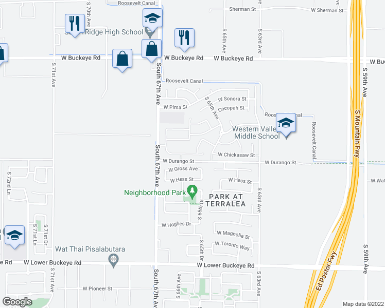 map of restaurants, bars, coffee shops, grocery stores, and more near 6550 West Chickasaw Street in Phoenix