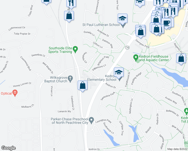 map of restaurants, bars, coffee shops, grocery stores, and more near 1027 Hyacinth Lane in Peachtree City