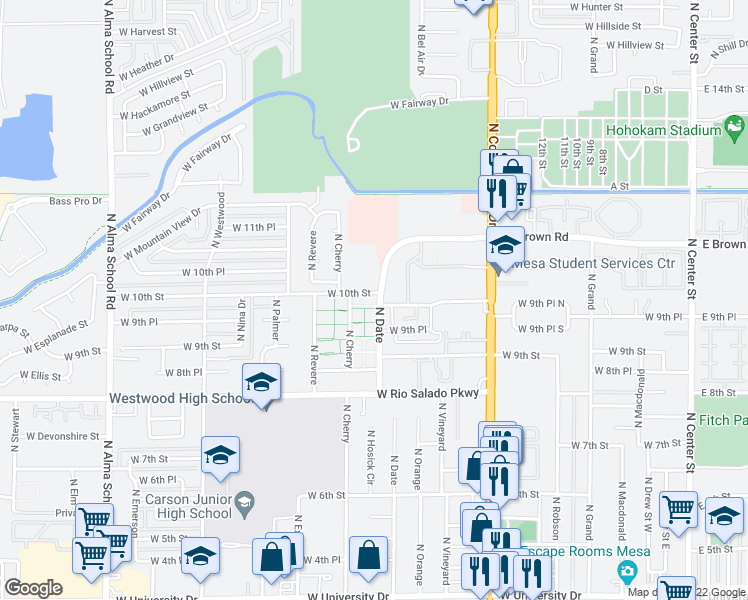 map of restaurants, bars, coffee shops, grocery stores, and more near in Mesa