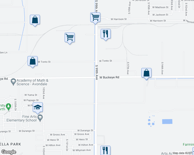 map of restaurants, bars, coffee shops, grocery stores, and more near W Buckeye Rd & S 99th Ave in Tolleson