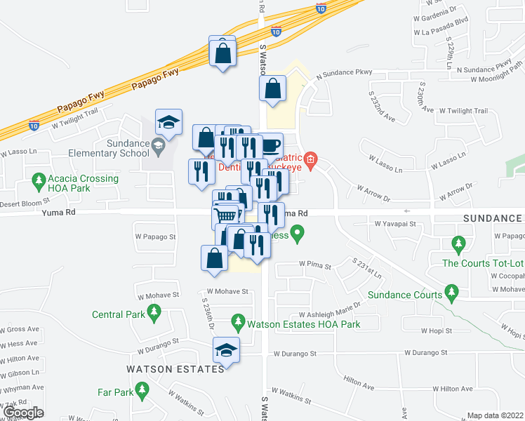 map of restaurants, bars, coffee shops, grocery stores, and more near W Yuma Rd & S Watson Rd in Buckeye