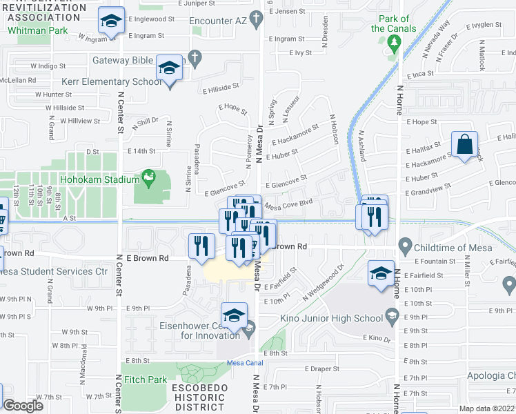 map of restaurants, bars, coffee shops, grocery stores, and more near 1233 N Mesa Dr in Mesa