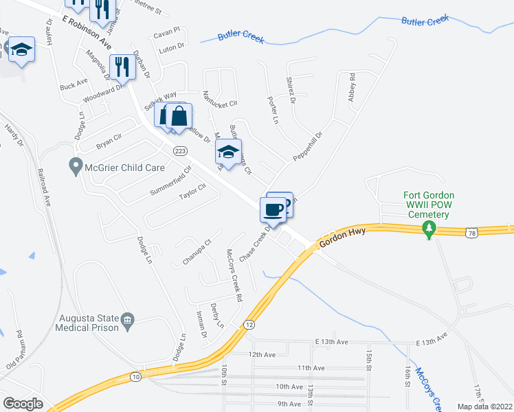 map of restaurants, bars, coffee shops, grocery stores, and more near 672-698 East Robinson Avenue in Grovetown