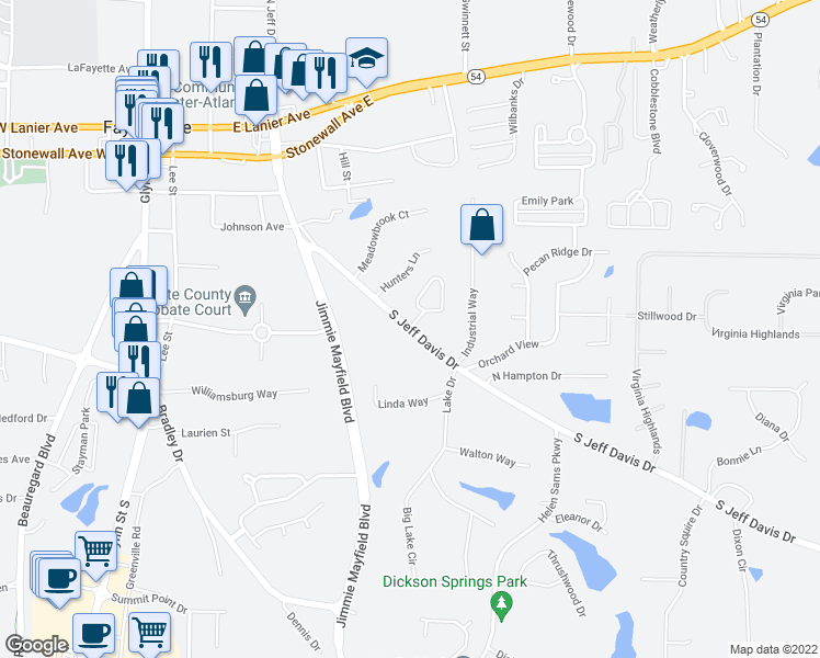 map of restaurants, bars, coffee shops, grocery stores, and more near 373-397 South Jeff Davis Drive in Fayetteville
