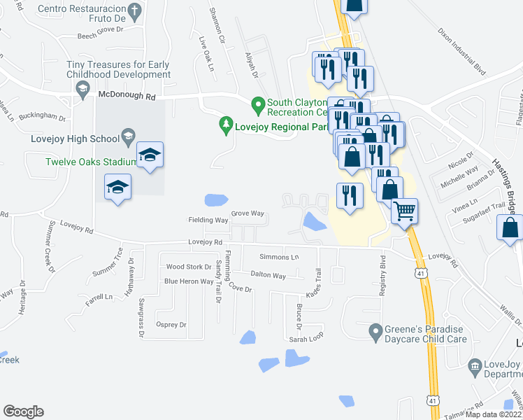 map of restaurants, bars, coffee shops, grocery stores, and more near 2039 Grove Way in Hampton