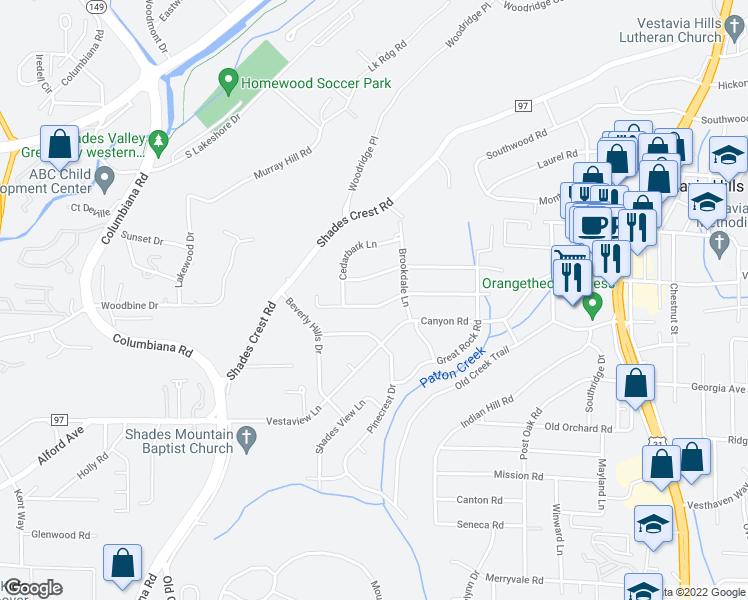 map of restaurants, bars, coffee shops, grocery stores, and more near 1736 Cedarwood Road in Vestavia Hills