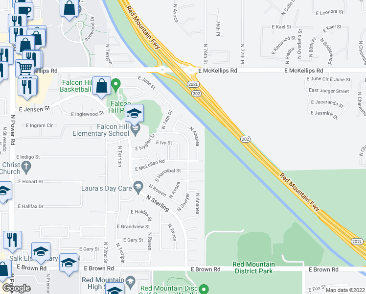 map of restaurants, bars, coffee shops, grocery stores, and more near 1640 N Sawyer in Mesa