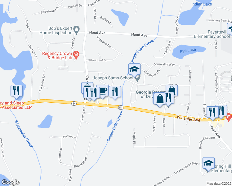 map of restaurants, bars, coffee shops, grocery stores, and more near 125 Marquis Dr in Fayetteville
