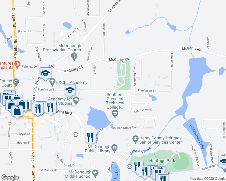 map of restaurants, bars, coffee shops, grocery stores, and more near 600-648 Tomlinson Street in McDonough