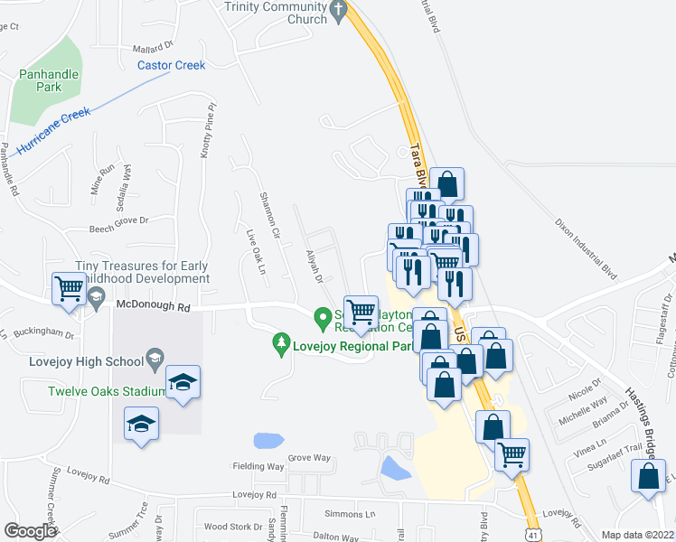 map of restaurants, bars, coffee shops, grocery stores, and more near 11202 James Madison Drive in Hampton