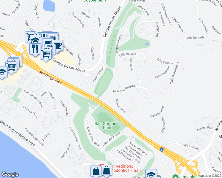 map of restaurants, bars, coffee shops, grocery stores, and more near Calle Guadalajara & Avenida Vaquero in San Clemente