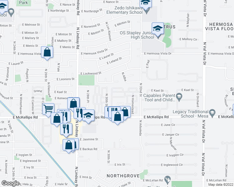 map of restaurants, bars, coffee shops, grocery stores, and more near 3134 E McKellips Rd in Mesa