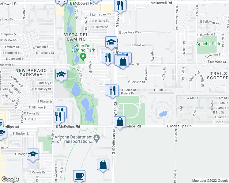 map of restaurants, bars, coffee shops, grocery stores, and more near N Hayden Rd & E McKinley St in Scottsdale