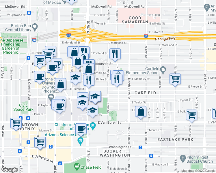 map of restaurants, bars, coffee shops, grocery stores, and more near North 9th Street & East Pierce Street in Phoenix