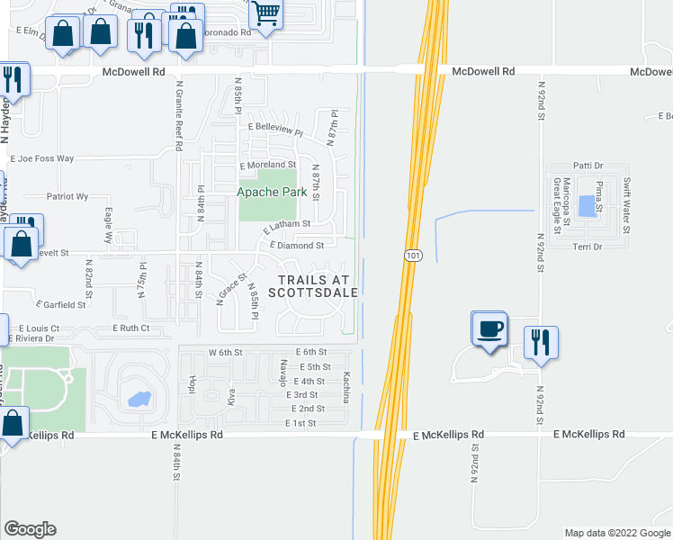 map of restaurants, bars, coffee shops, grocery stores, and more near 936 North 87th Way in Scottsdale