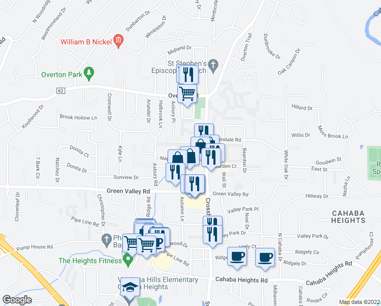 map of restaurants, bars, coffee shops, grocery stores, and more near 2298-2300 Napoleon Court in Vestavia Hills