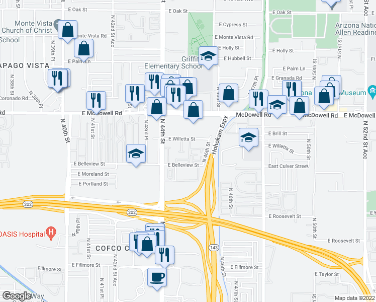 map of restaurants, bars, coffee shops, grocery stores, and more near 1365 North 44th Street in Phoenix