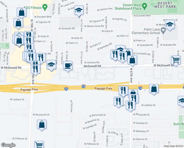 map of restaurants, bars, coffee shops, grocery stores, and more near 7021 W McDowell Rd in Phoenix